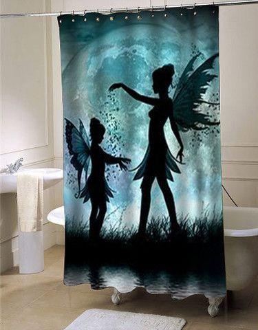 moon fairies shower curtain customized