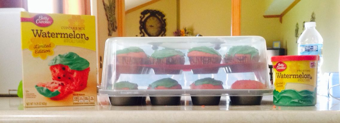 Made some watermelon cupcakes #yum #summertime