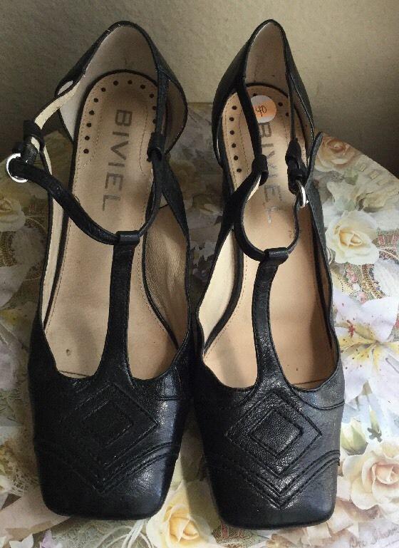 Biviel Women's Sandals Heels Maryjane Black Leather Sz 9