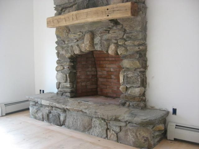stone hearth Stone Fireplace Hearth Vermont field stone