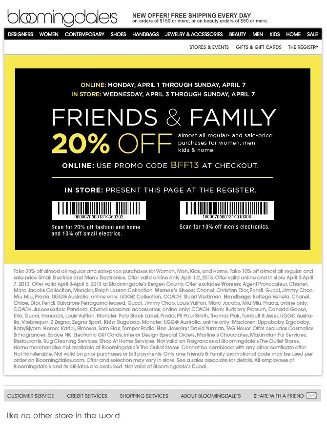 Bloomingdales Friends Family 20 Off Discount Coupon Promo Code For April 2013 Beautystat Com Promo Codes Coupons Discount Coupons