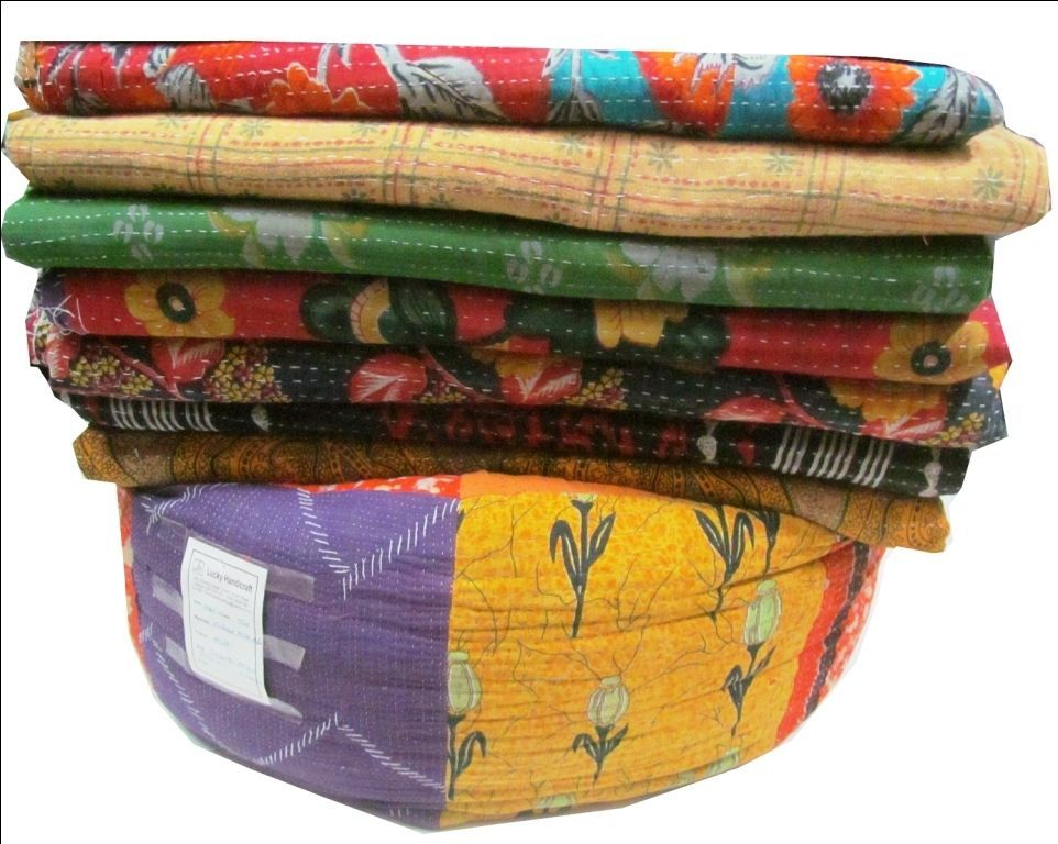 Kantha Quilt Indian Vintage Reversible Throw Handmade Blanket Wholesale Lot of 5