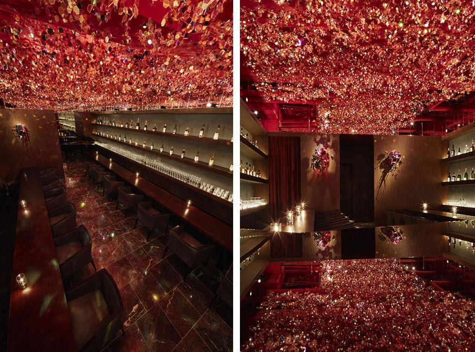 suspended canopy of cherry blossoms inside ricca bar in tokyo by roito yellowtrace