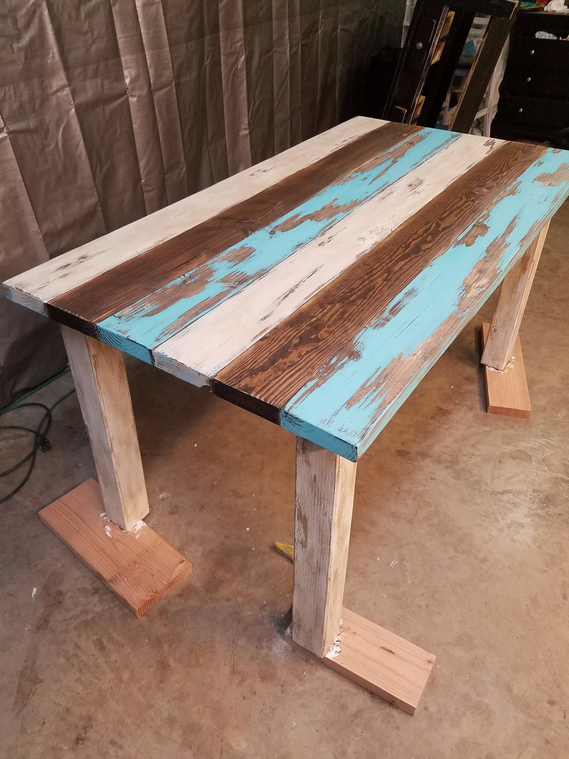 Attrayant Antiqued/Painted/Distressed Turquoise Table By JujubeeFarmTables On Etsy