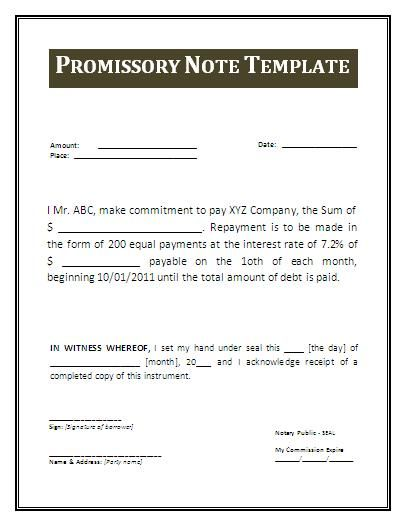 Free Promissory Note Template Word - promissory note word template