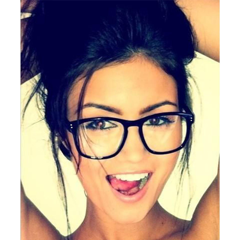 Details about Clear Lens Rectangular Eyeglasses Black Brown Frame Men Women Retro Fashion
