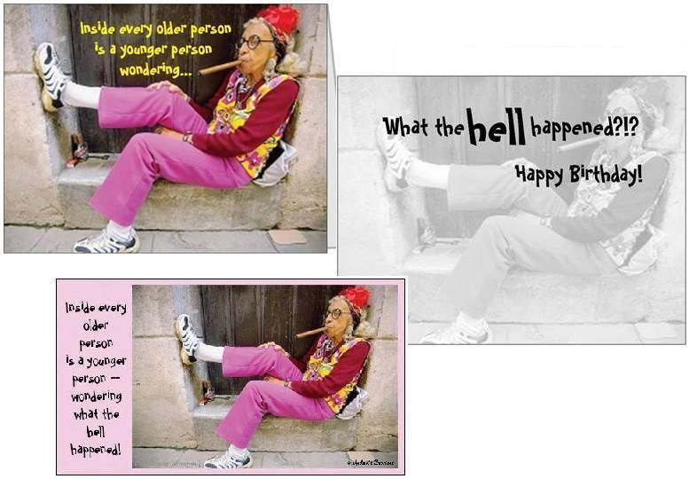 Funny Birthday Card Old Woman Smoking Cigar Magnet Greeting Cards
