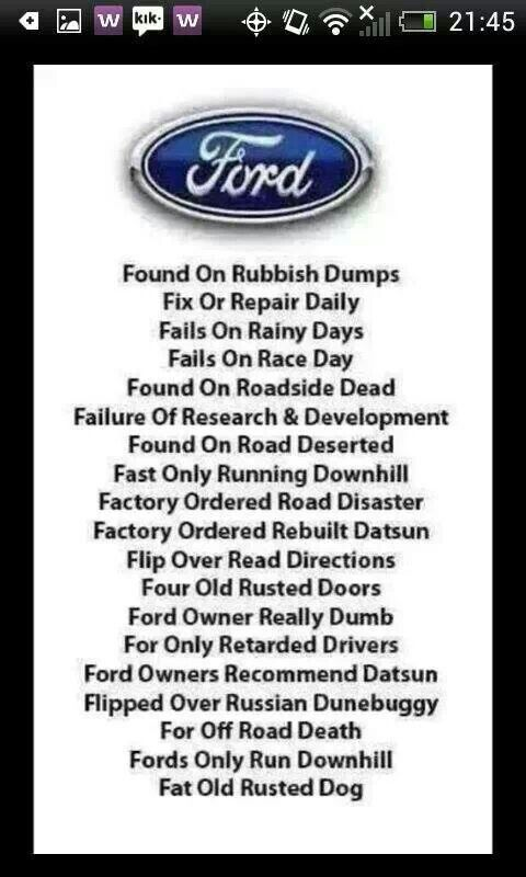 The Meanings Of Ford With Images Ford Jokes Chevy Jokes Ford