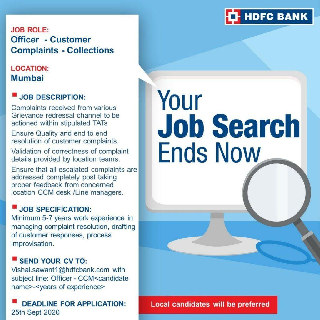Customer complaints collection officer mumbai job openings