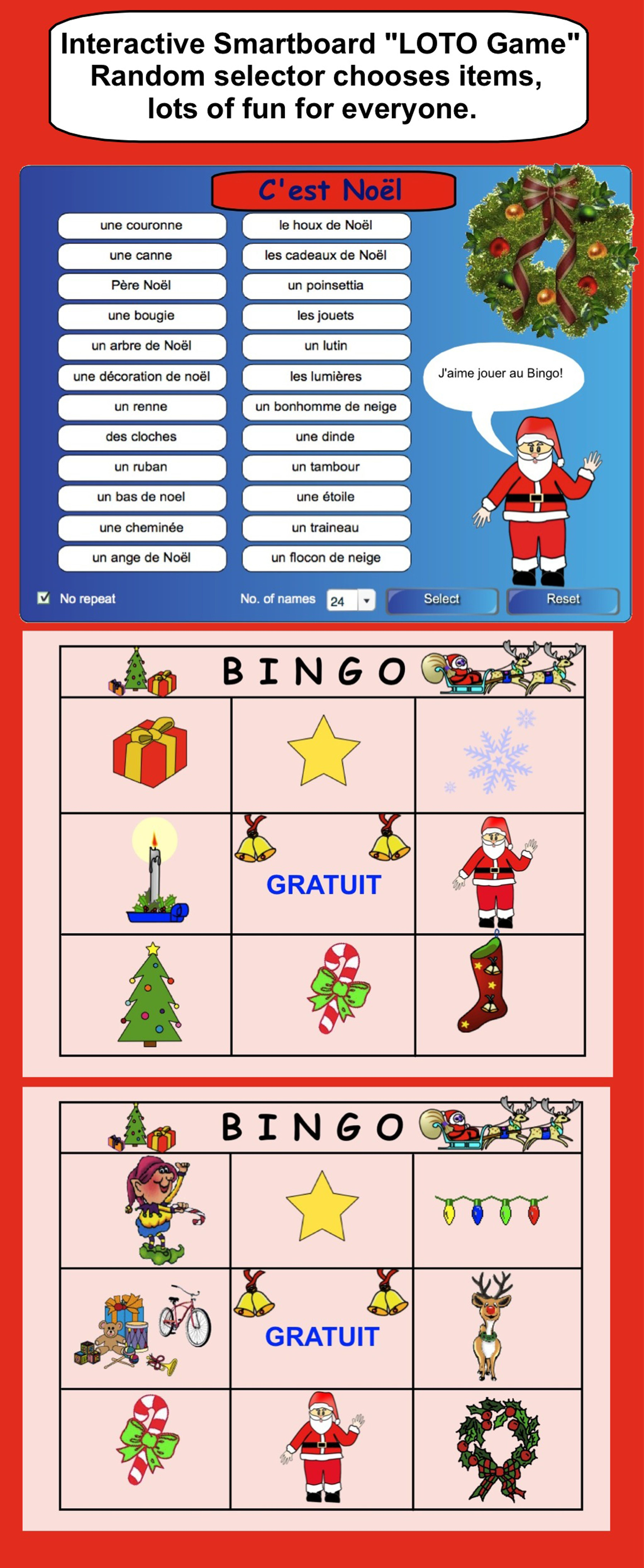 Smartboard Interactive Christmas Loto Game