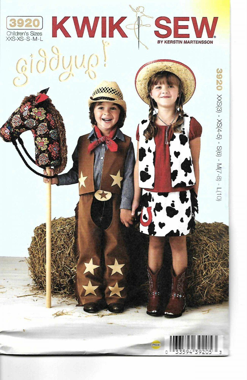 Kwik Sew Sewing Pattern 3920 Boys Girls Size 3-10 Cowboy Cowgirl ...