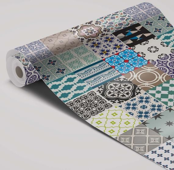 Colorful patchwork wallpaper | Kitchen and Bathroom Splashback | Carreaux #72S #bathroomsplashback