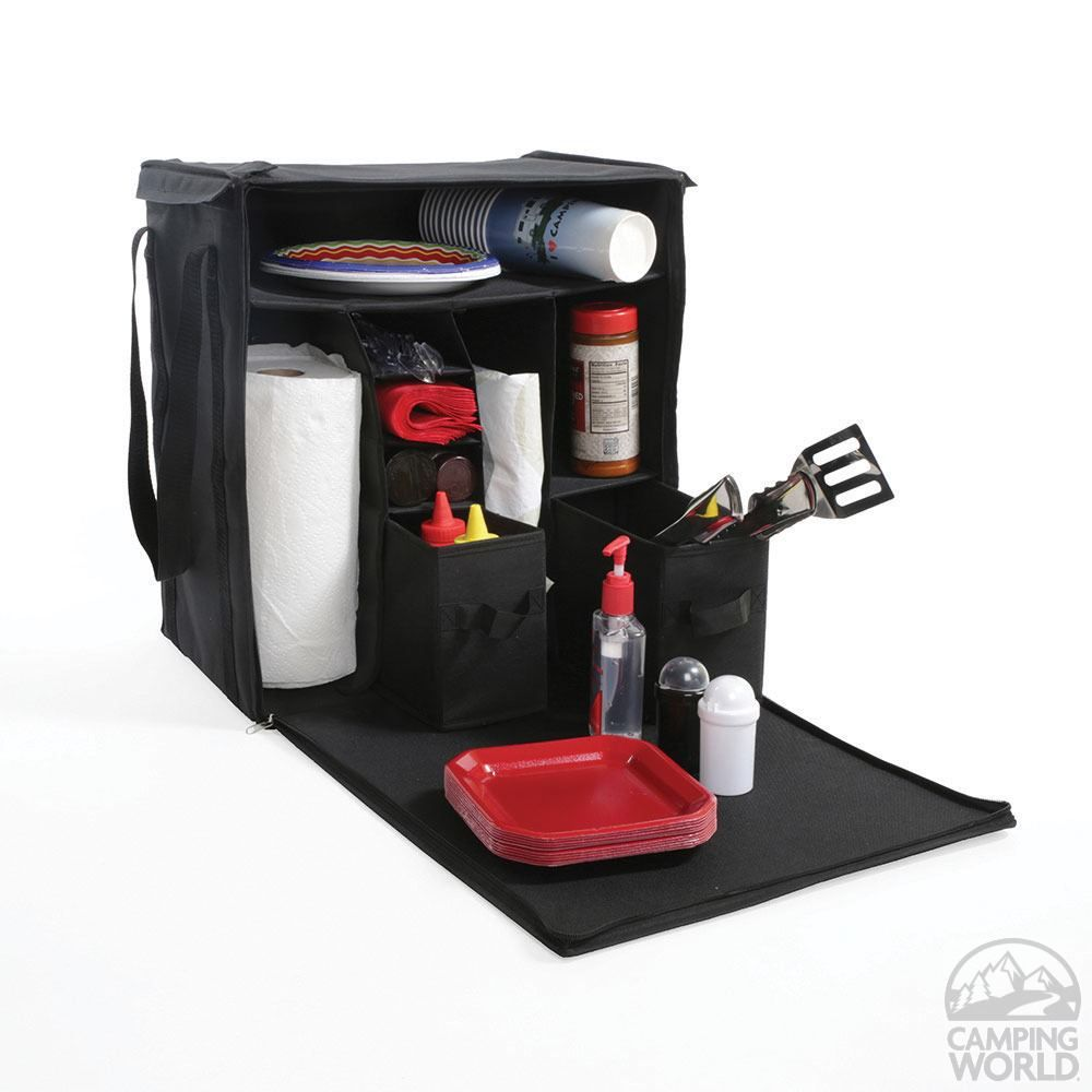 Kitchen Organizer Organize All Your Grilling Condiments And Picnic Supplies Lightweight Tote Sets Up