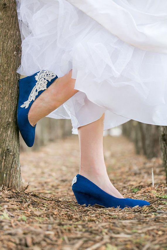 Wedding Shoes Blue Wedges Heels Low By Walkinonair