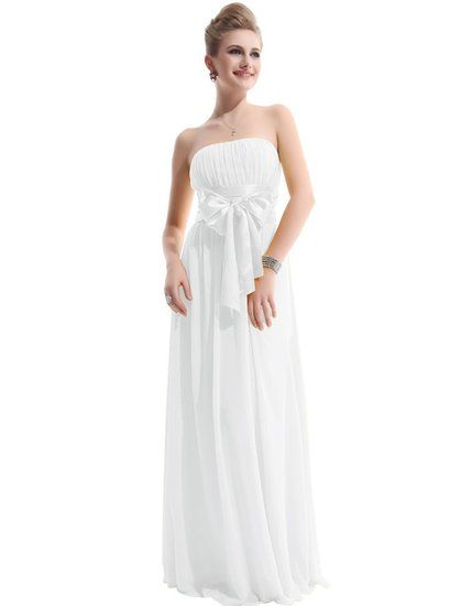 Ever Pretty Charming Empire Waist Bowtie Strapless Long Evening Dress 09060, HE09060WH12, White, 10US