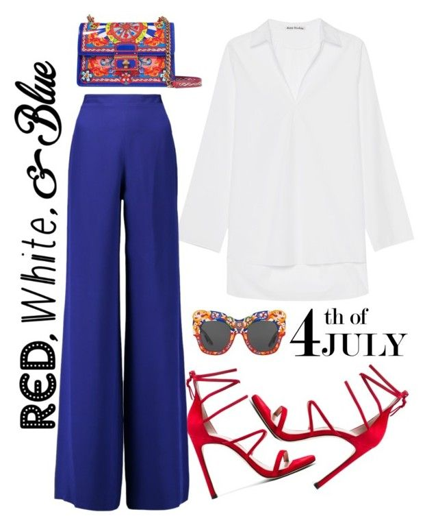 """""""4th of July"""" by yagmur ❤ liked on Polyvore featuring Dolce&Gabbana, Acne Studios, Emilio Pucci, redwhiteandblue and july4th"""