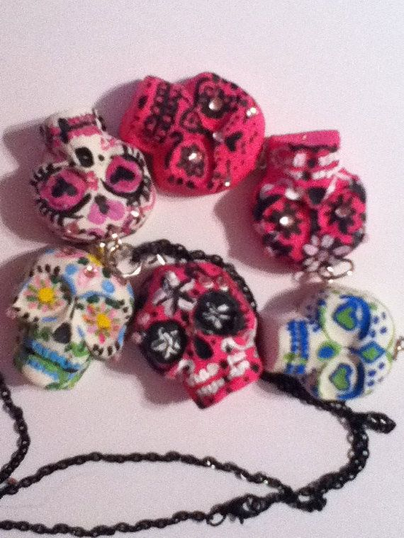 Mexican Sugar Skull Necklace by BauguessBeads on Etsy, $12.00