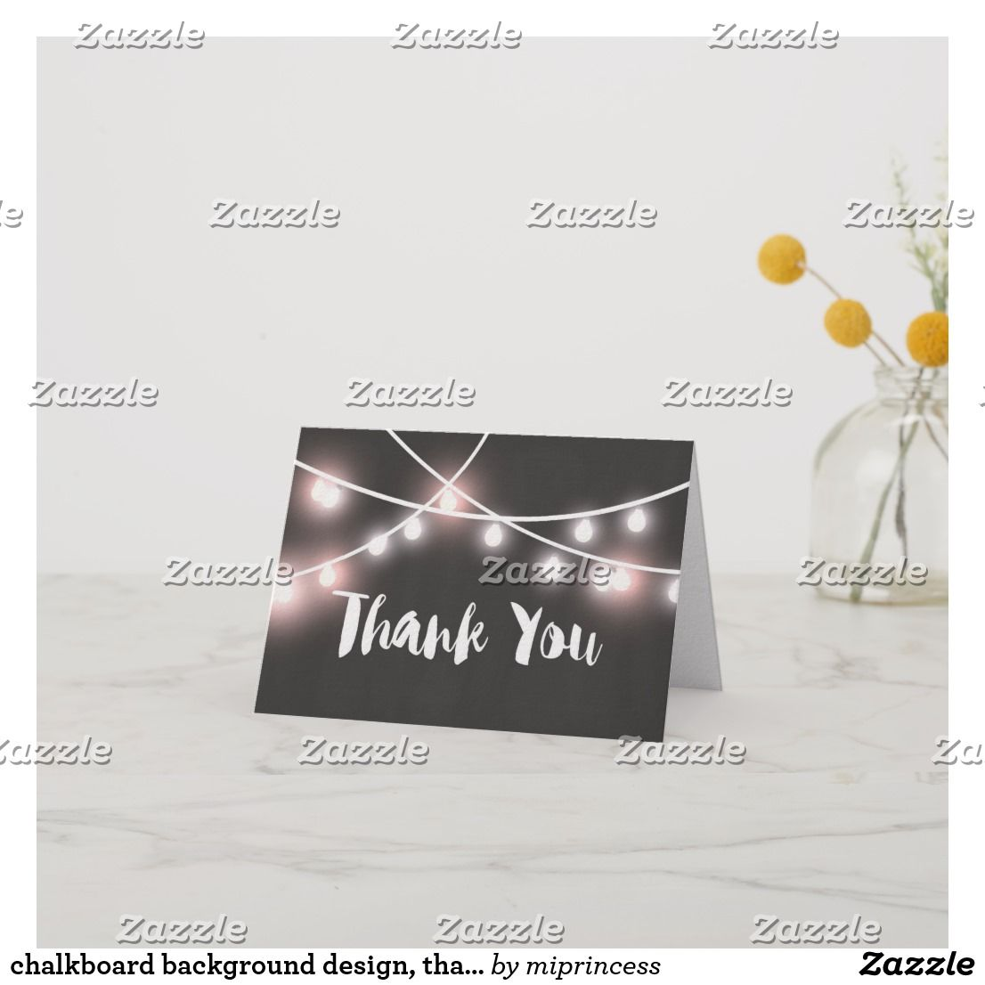 chalkboard background design thank you card  zazzle