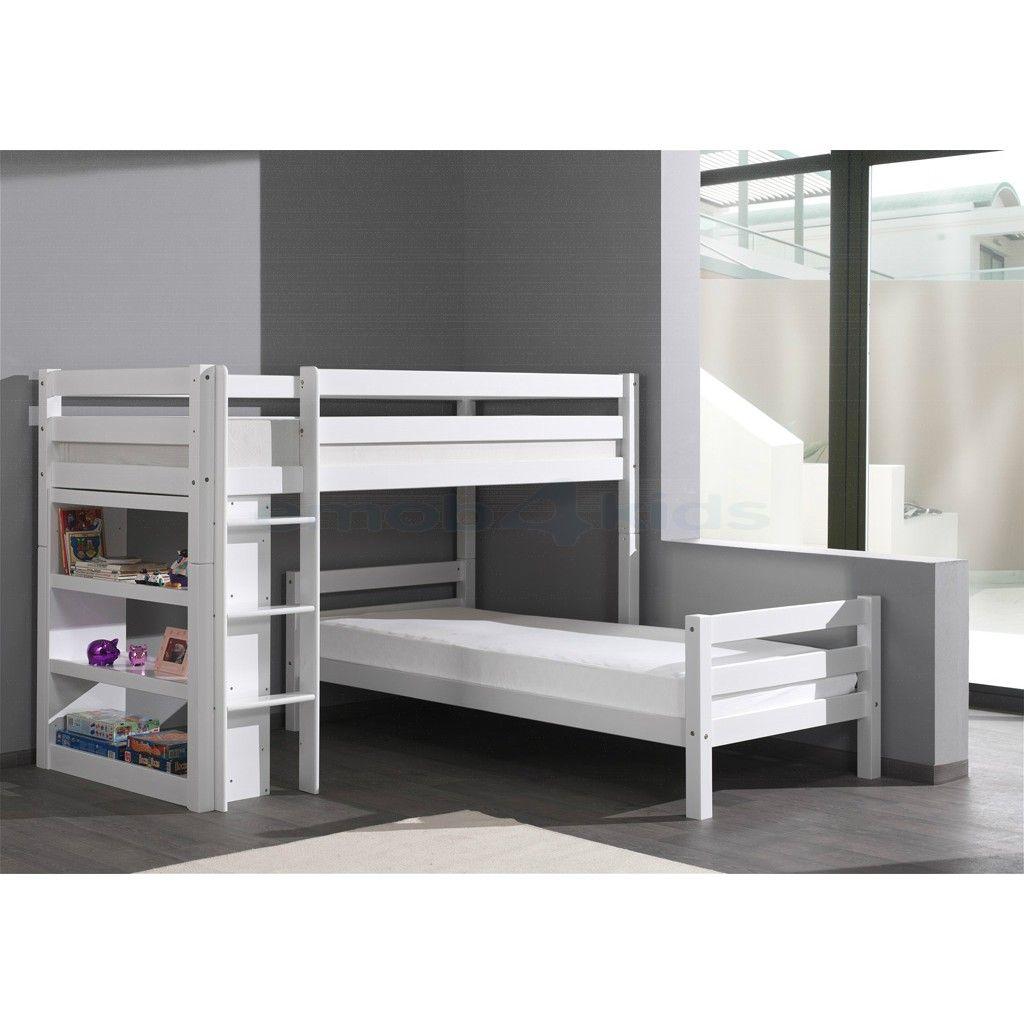Beni l hoekstapelbed wit houten stapelbedden met leuke accessoires kinderkamer pinterest - Loft bed met opbergruimte ...