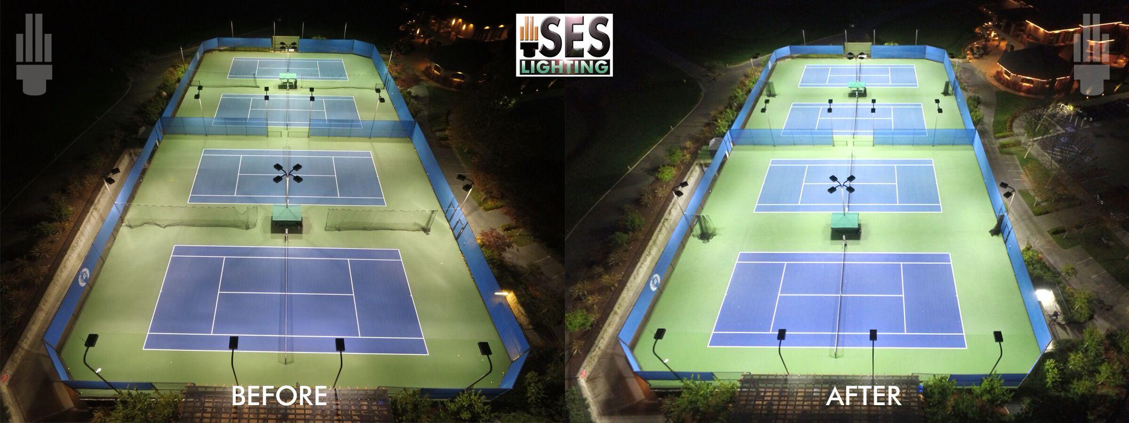 Ses Lighting Retrofits Tennis Court And Drastically