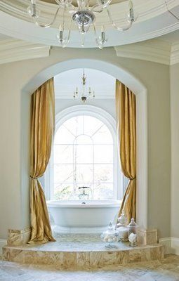 Portiere curtains in an arched doorway