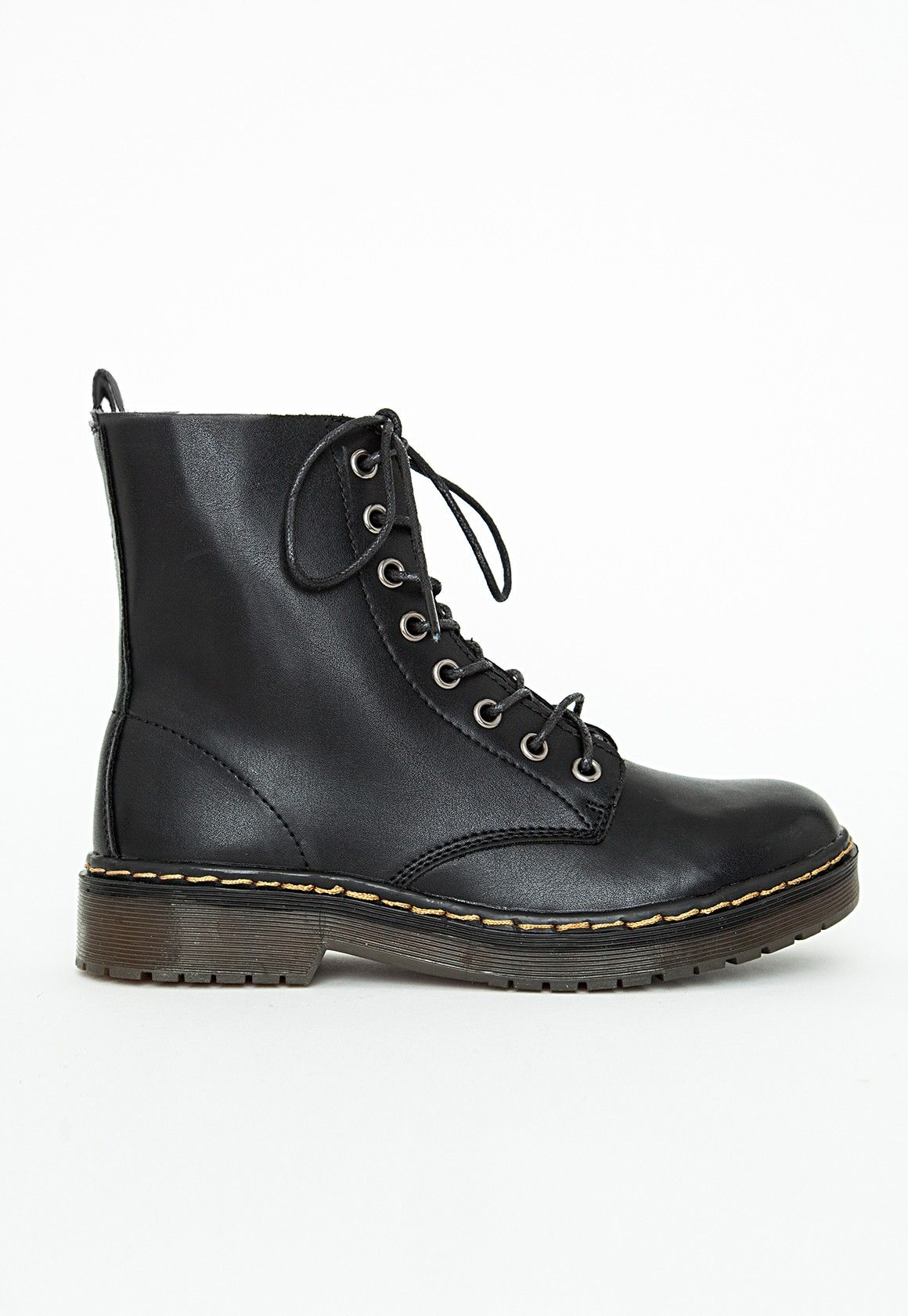 Missguided - Lace Up Rubber Sole Boots