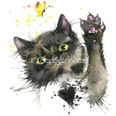 Black Cat And A Butterfly T Shirt Graphics Black Cat Illustration With Splash Watercolor Textured Background Unus Illyustracii Kot Illyustracii Sov Illyustracii