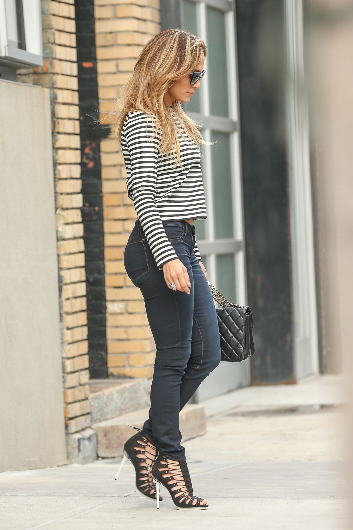 Blue celebrity in jeans tight woman