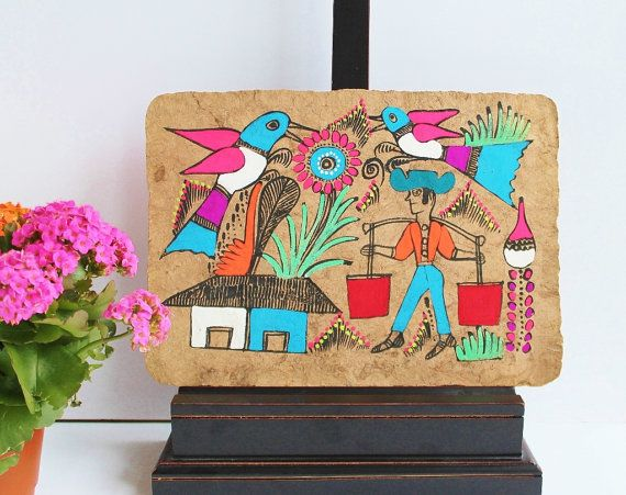Cinco de Mayo Mexican Hispanic Amate Bark Paper Folk by TheBlueRam