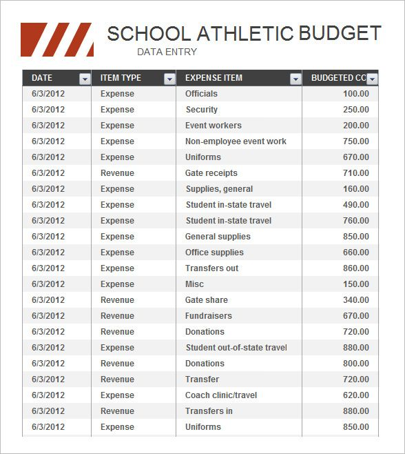 High School Athletic Budget Free , Basic Budget Template , How To - excel budget template