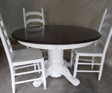 refinishing white pedestal table and ladder back chairs painted rh pinterest com