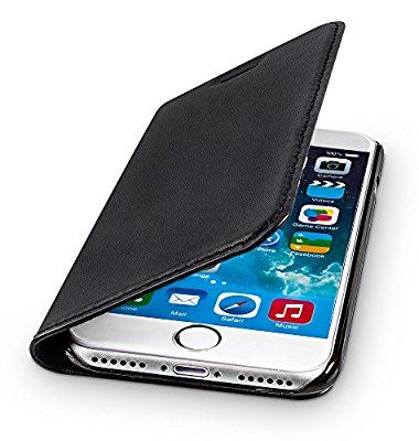 WIIUKA Echt Ledertasche TRAVEL Apple iPhone 7 mit Kartenfach extra Dünn Tasche Schwarz Premium Design Leder Hülle