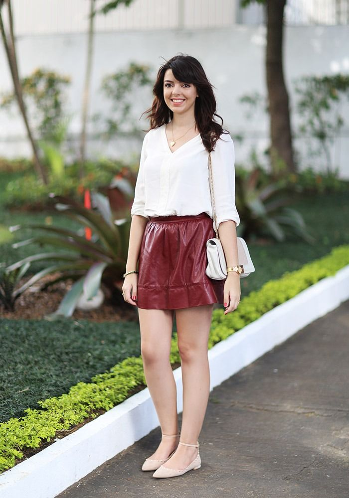 Look do dia: Saia de couro bordô | Just Lia