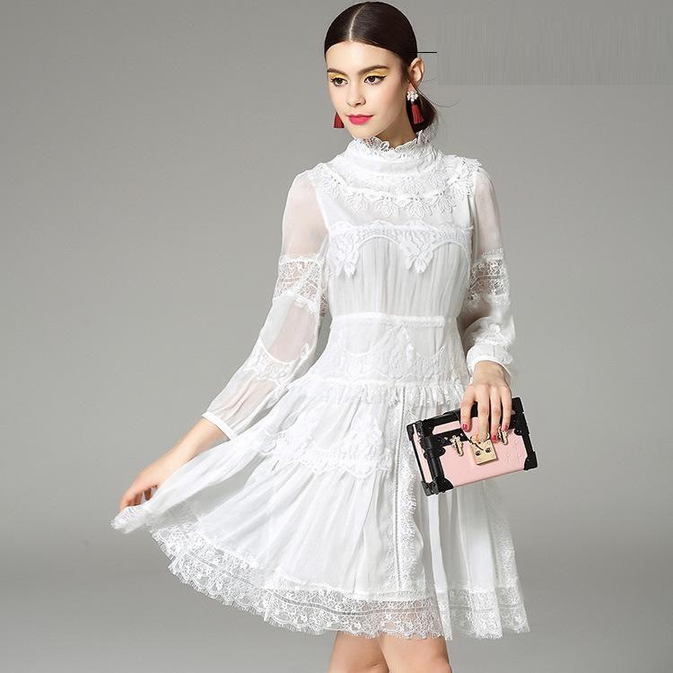 High Quality New Fashion White Dress 2016 Spring Summer