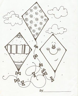 Such cute kites to color! | Kite Coloring Pages | Pinterest ...
