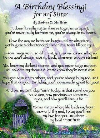A Birthday Blessing For My Sister Birthday Poems Sister Poems Birthday Prayer