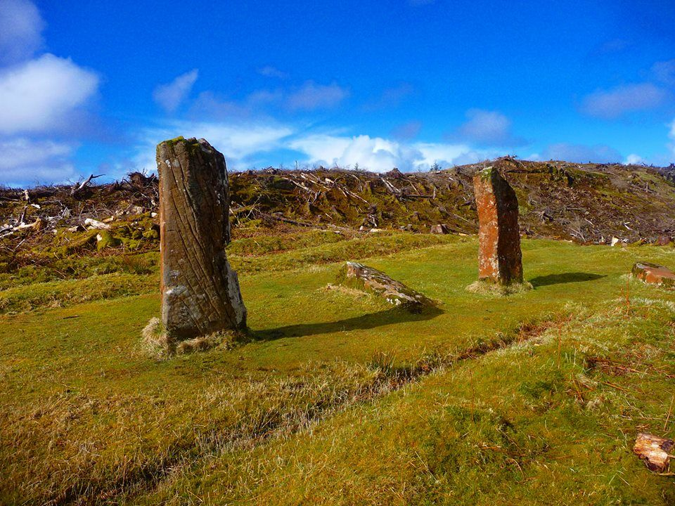 CNOC FADA, Standing Stones or Kilmore Stones or Dervaig. Isle of Mull, Scotland. The haunted Stones of Mull On the isle of Mull a line of standing stones tell a strange tale. Known locally as Cnoc Fada, or Dervaig B, two upright stones and 3 fallen ones sit in a clearing in a pine wood. Easy to find just east of Dervaig at a viewpoint. Signposted.