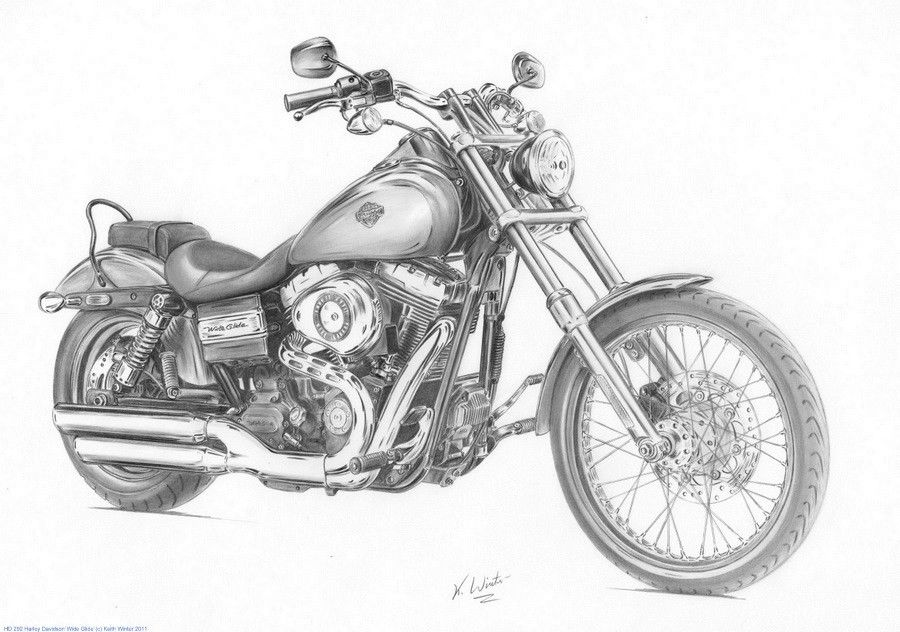 Gallery For gt Pencil Drawings Of Harley Davidson Motorcycles