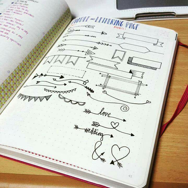 how to draw a banner bullet journal