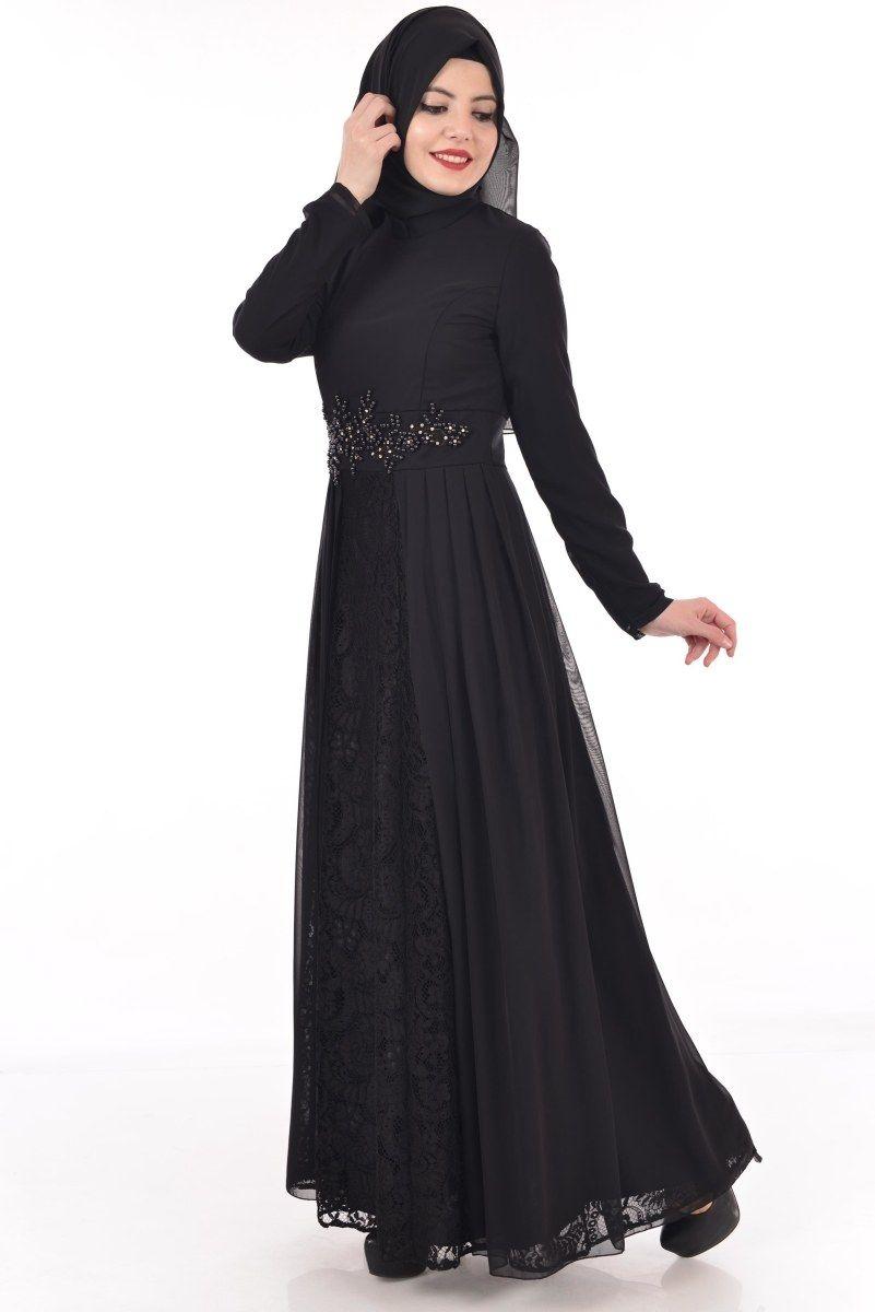 5d4e827f3e0de Modamerve Tesettür Dantelli Şifon Elbise Modelleri | Tesettür ...