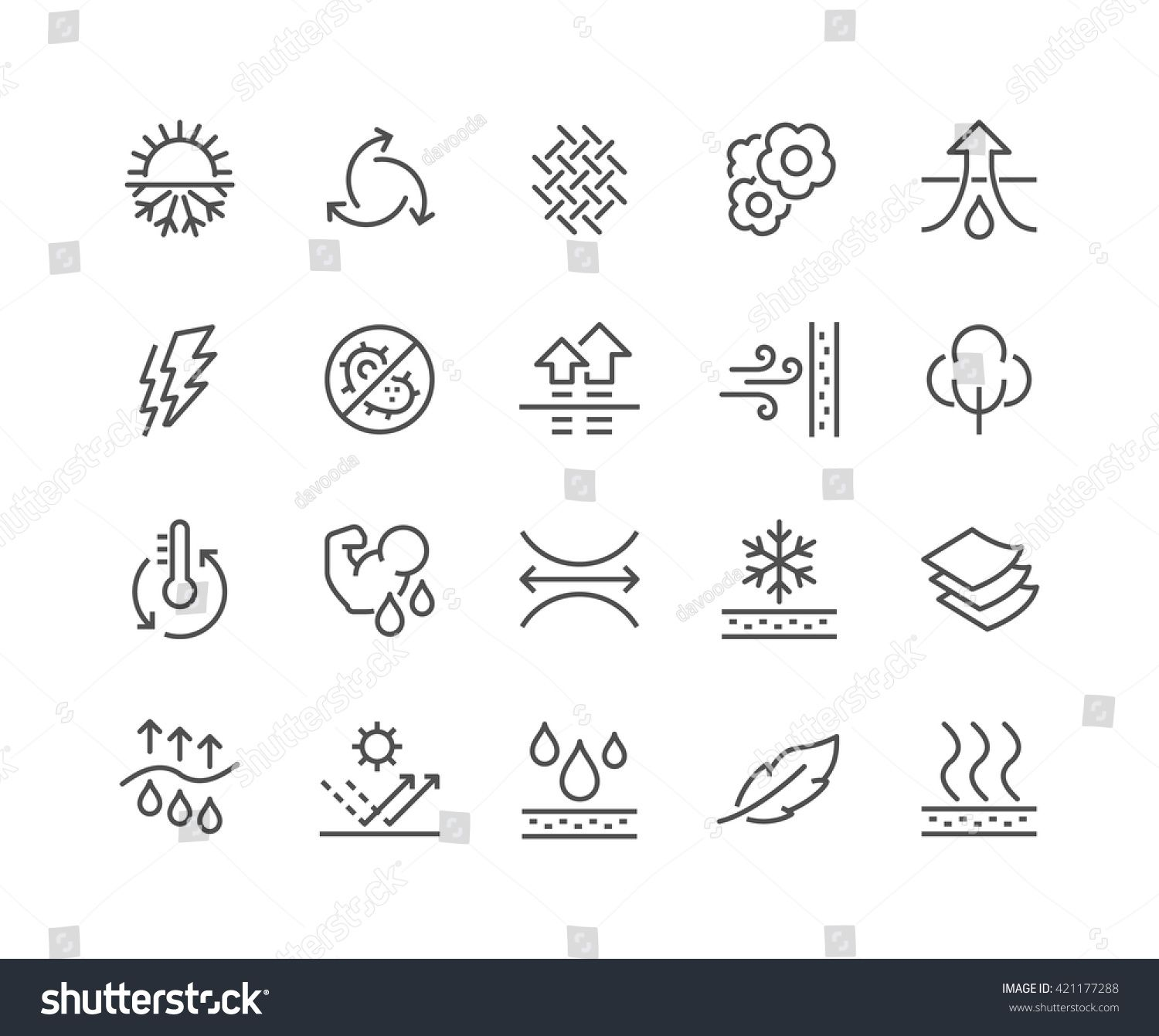 Simple Set of Fabric Feature Related Vector Line Icons