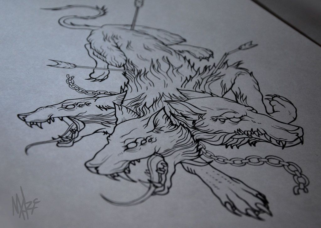 cerberus tattoo sketch by on deviantart tattoo ideas pinterest. Black Bedroom Furniture Sets. Home Design Ideas