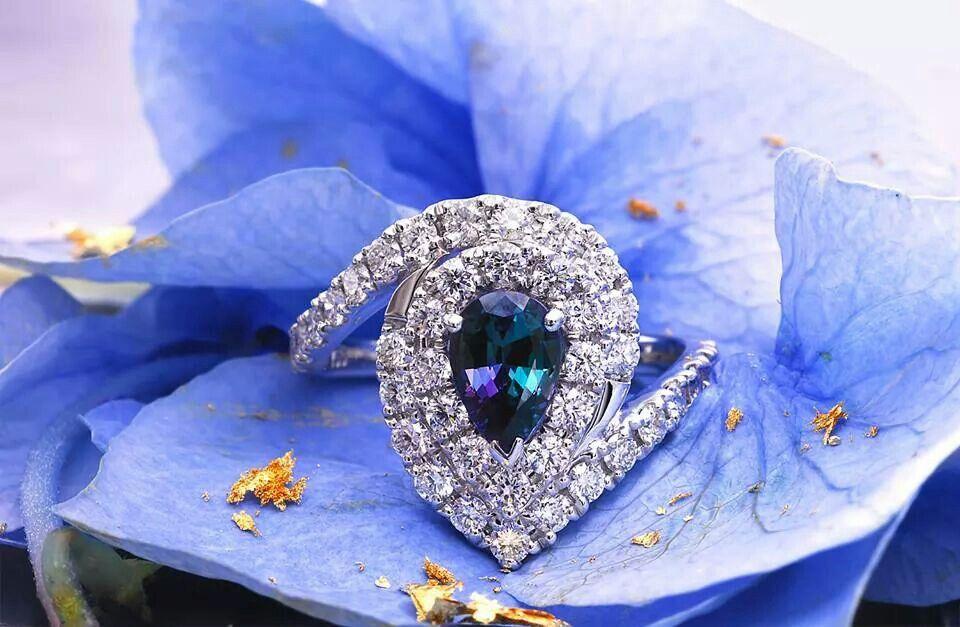 Alexandrite diamond ring alexandrite engagement ring