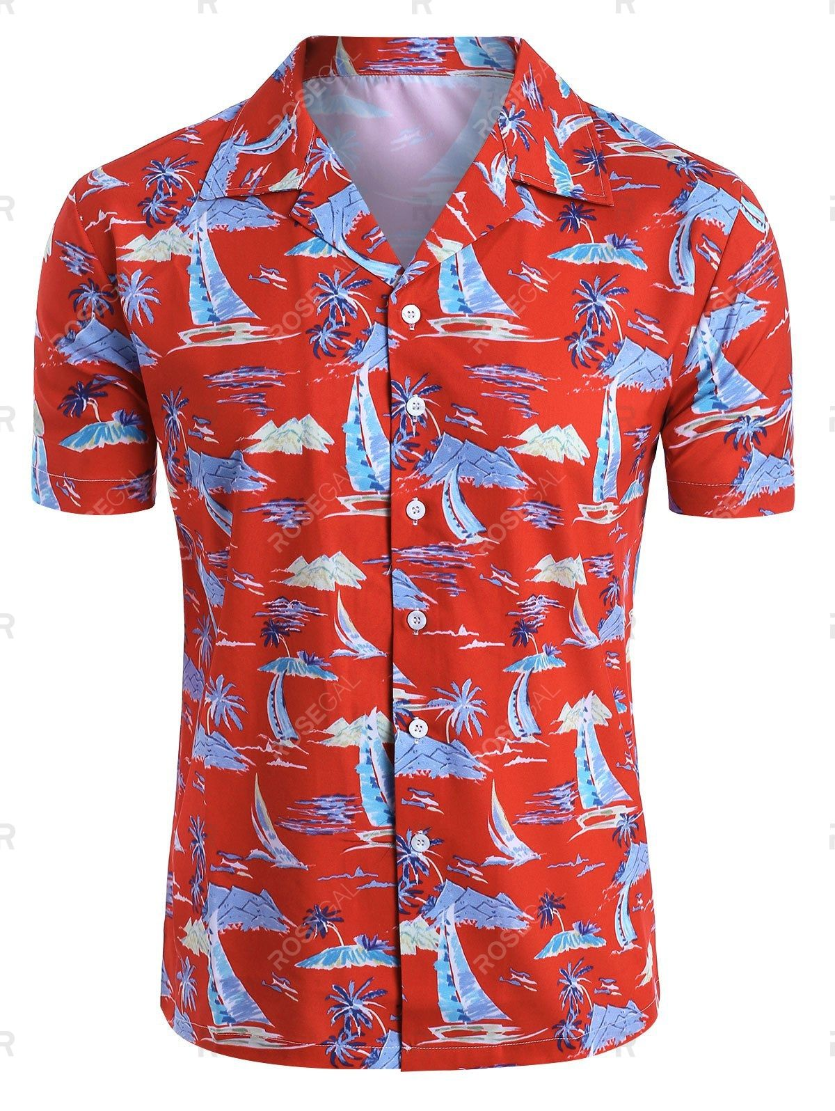 Palm Tree Sailboat Print Button Up Hawaii Shirt Ad Paid Sailboat Tree Palm Print Shirt In 2020 Print Buttons Hawaii Shirt Casual Button Down Shirt