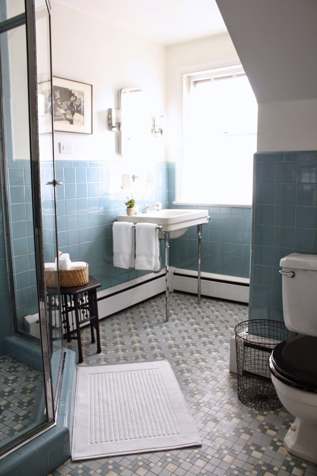 Retro Blue Bathroom Tile Vintage blue tile bathroom via Meet Me in Philadelphia