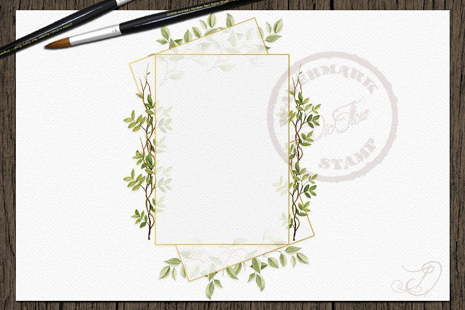 Branchy Geometric Frames Clip Art , #Aff, #geometric#frames#clip#greenery #Ad #clipartfreebies