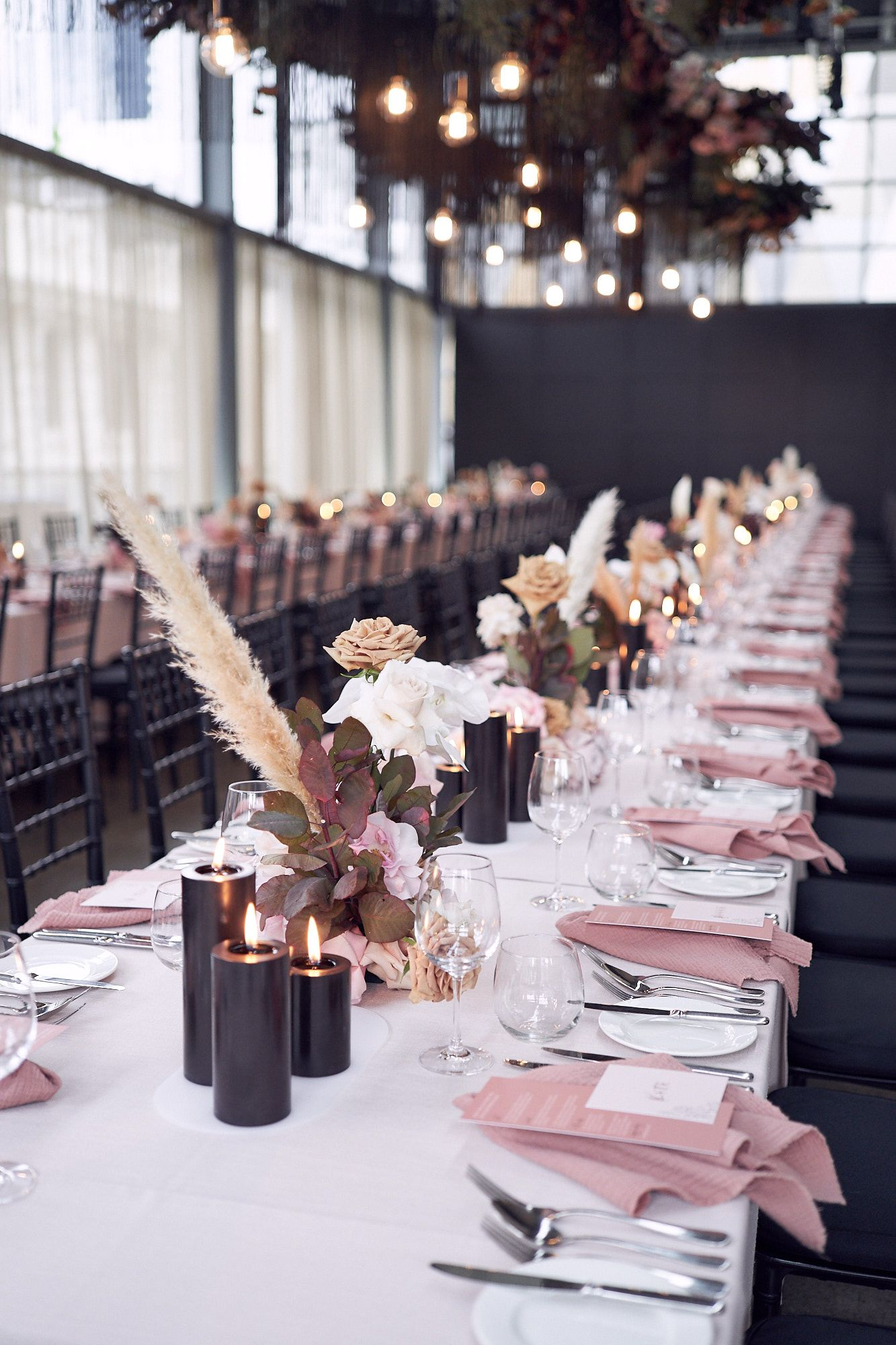 Melbourne Wedding Photos | Reception Styling inspo — styling by Creating Beautiful. photo by lost in love. pastel roses gold and black detail. Pampas grass. Alto Event Melbourne