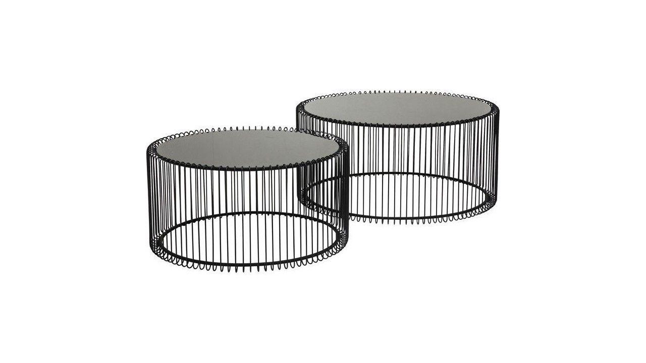 c4518091eda3e8 Tables basses rondes Wire noires set de 2 Kare Design   Table basse ...