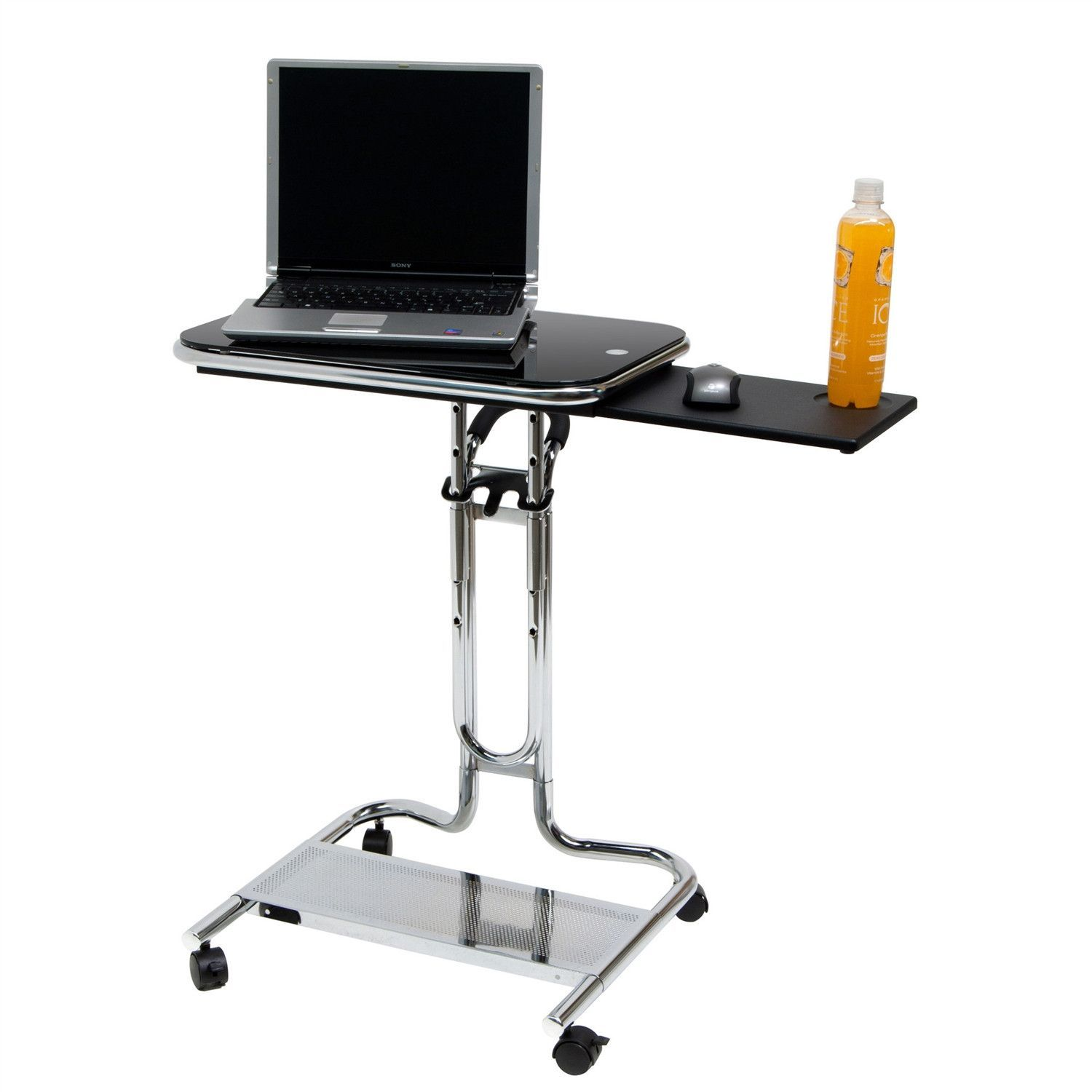 Clear Glass Top Mobile Laptop Computer Cart Desk With Mouse