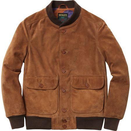 supreme schott suede bomber jacket men 39 s fashion pinterest supreme. Black Bedroom Furniture Sets. Home Design Ideas